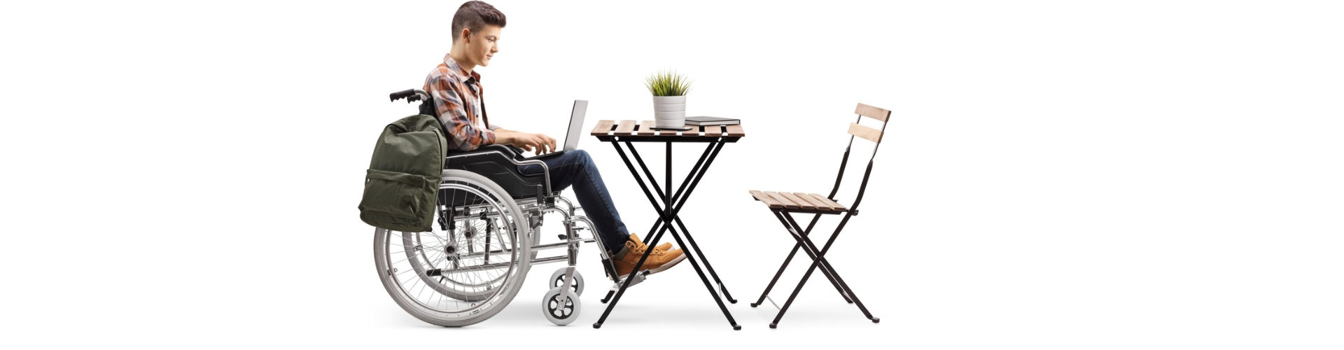 young man with wheelchair working using laptop